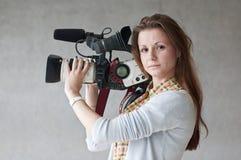女孩新闻记者 库存照片