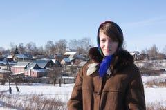 女孩方巾俄国传统 库存照片