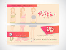 女孩时尚商店网横幅或倒栽跳水 图库摄影