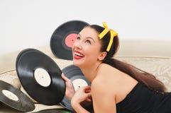 女孩时髦恋人的音乐 库存照片