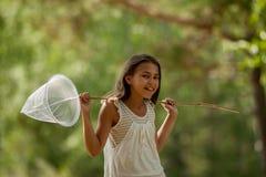 女孩昆虫学家 库存照片