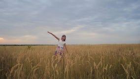 女孩是少年,涂了她的象翼和奔跑的胳膊横跨领域微笑 慢的行动 影视素材