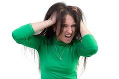 女孩是愤怒的被弄乱 库存照片