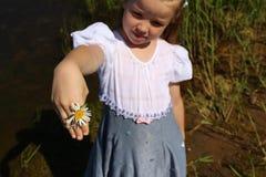 女孩显示在她的手上的一朵雏菊 库存图片