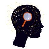 女孩有徒升的-研究或psychologies的例证` s头 免版税库存照片
