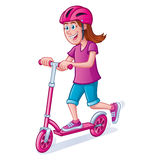 女孩有盔甲的骑马滑行车 免版税库存照片