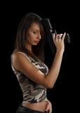 女孩枪藏品 库存照片