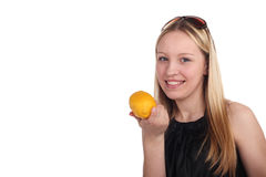 女孩柠檬 免版税图库摄影