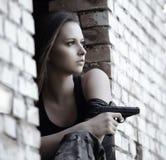 女孩查出的军事白色 库存照片