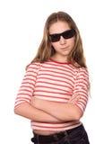 女孩查出的太阳镜少年佩带的白色 免版税库存照片