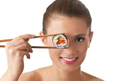 女孩查出的寿司 免版税图库摄影