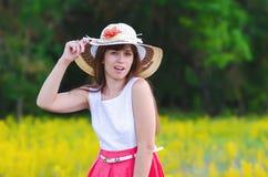 女孩查出的微笑的白色 库存图片