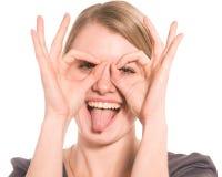 女孩查出空白的微笑 免版税库存图片
