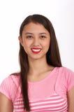女孩桃红色俏丽的顶层 图库摄影