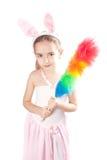 女孩桃红色兔子 免版税库存图片