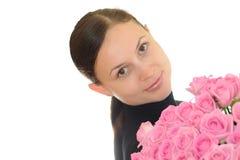 女孩桃红色玫瑰 免版税库存照片