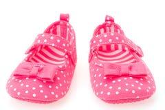 女孩桃红色童鞋 库存照片