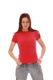 女孩桃红色衬衣t 库存照片