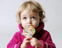 女孩棒棒糖 免版税库存照片