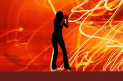 女孩歌唱家 免版税库存照片