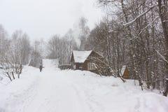 女孩步行沿着向下通过村庄房子的路一个多雪的森林大雪的在冬天冷淡的天 免版税图库摄影