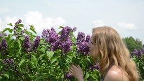 女孩气味淡紫色树绽放和微笑满意地 免版税库存图片