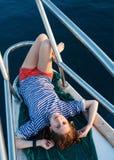 女孩水手游艇 库存图片