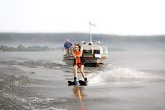 女孩水橇 免版税库存照片