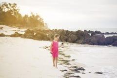 女孩沿印度洋的岸单独走并且收集 库存照片