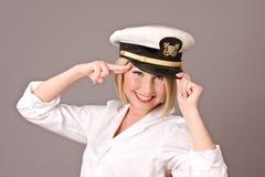 女孩海军pinup 免版税库存照片