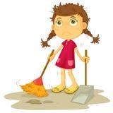 女孩清洁楼层 库存例证