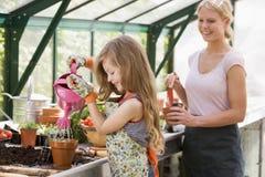 女孩温室植物浇灌的妇女年轻人 免版税库存照片