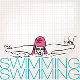 女孩游泳的例证在蝶泳样式的 库存照片