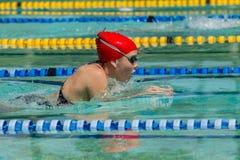 女孩游泳种族 免版税库存图片