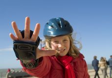 女孩滑冰的终止 库存照片
