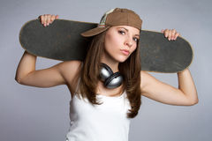 女孩滑板 免版税库存照片