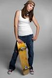 女孩滑板 免版税库存图片