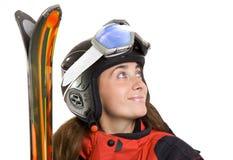 女孩滑雪者微笑 免版税库存图片