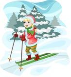 女孩滑雪者 免版税库存图片