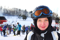 女孩滑雪 免版税库存照片