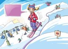 女孩滑雪 库存照片