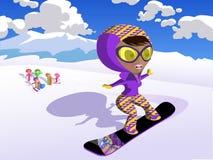 女孩滑雪 免版税图库摄影