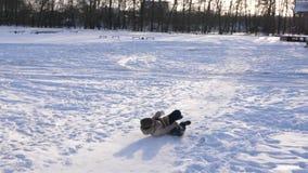 女孩滚动下来在雪橇的小山在雪 女孩戏剧在冬天在公园 股票视频