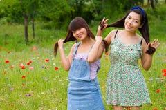 女孩演奏他们的在鸦片花田的头发 免版税库存照片