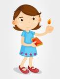 女孩点燃的火柴 向量例证