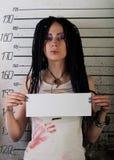 女孩照片监狱配置文件 免版税图库摄影