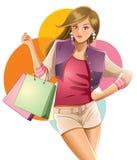 女孩爱俏丽的购物 图库摄影