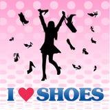 女孩爱穿上鞋子购物 图库摄影