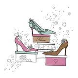 女孩爱鞋子 皇族释放例证