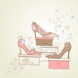 女孩爱鞋子 库存例证